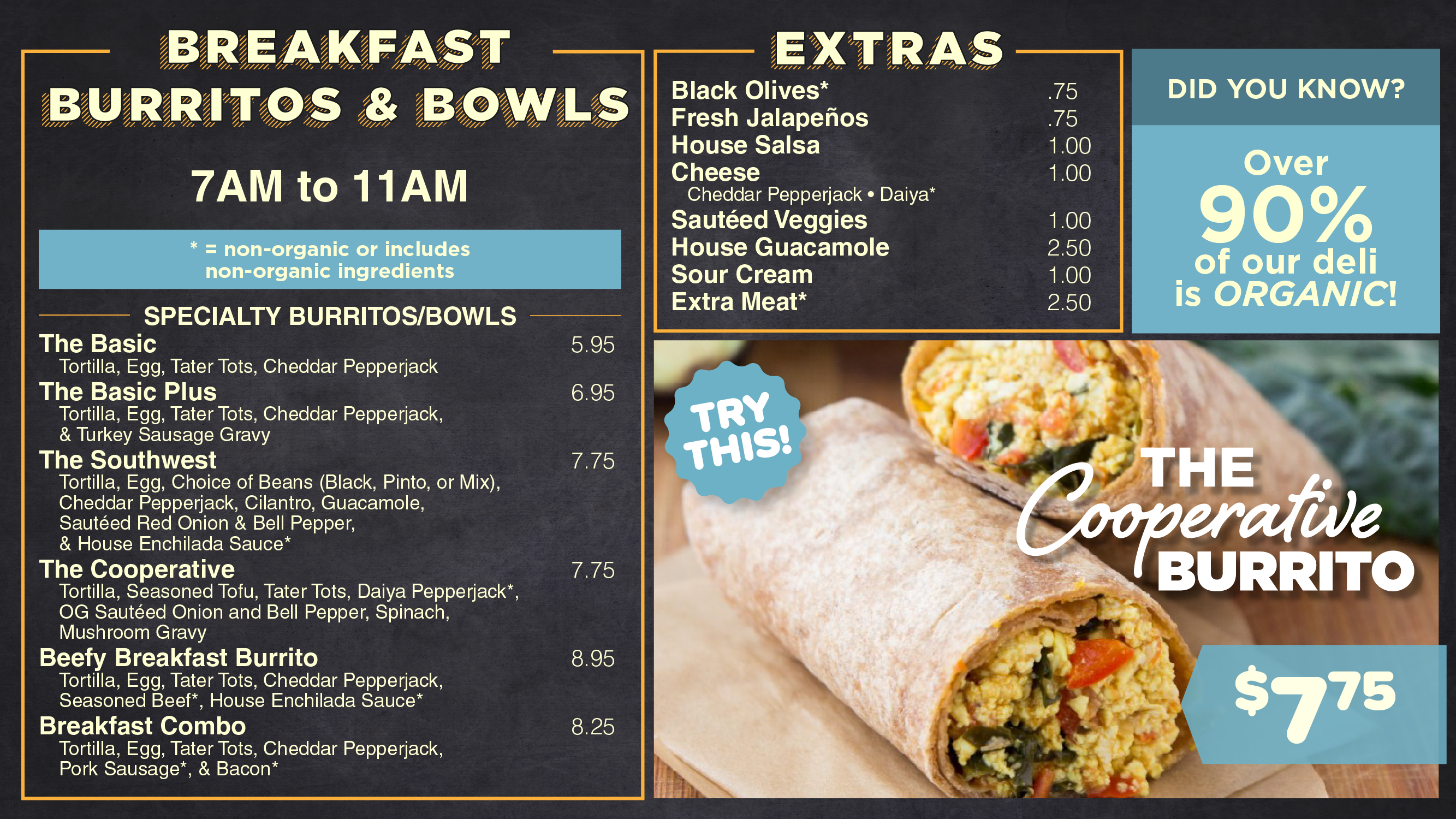 AFC Organic Breakfast Menu