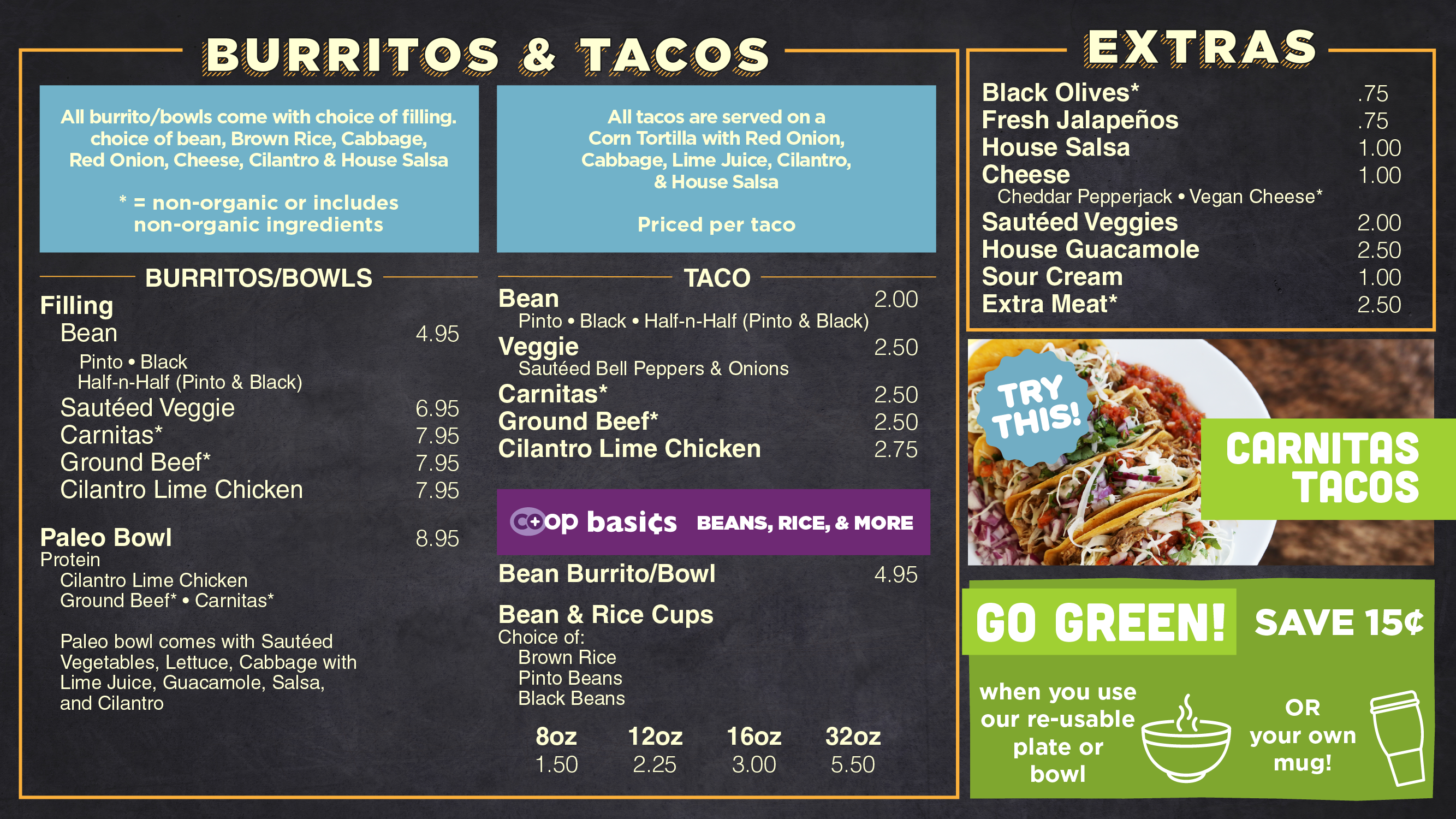 AFC Made to order burrito / taco menu