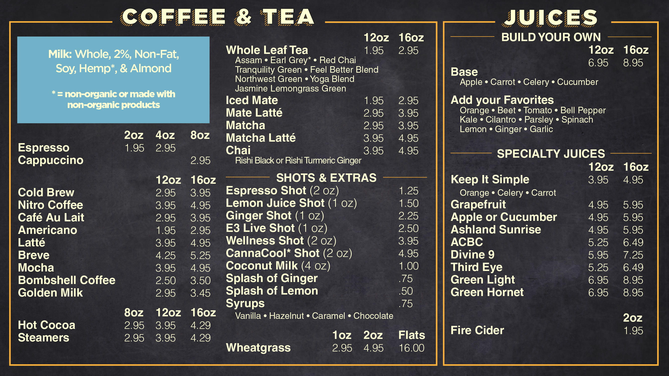 AFC Made To Order Coffee menu