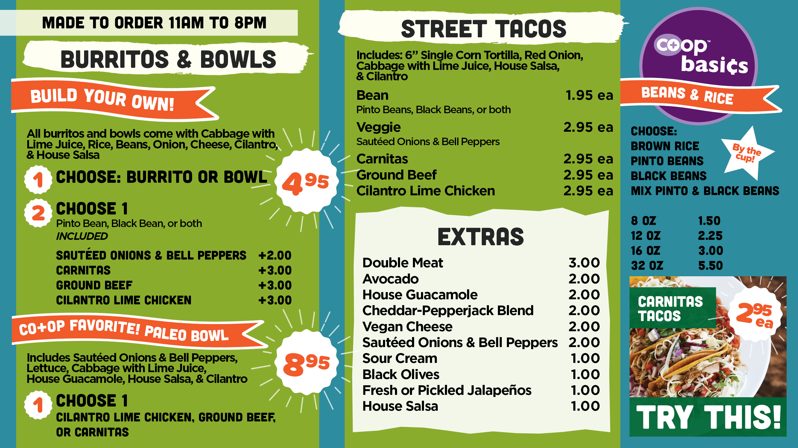 AFC Made to Order Burrito and Taco menu