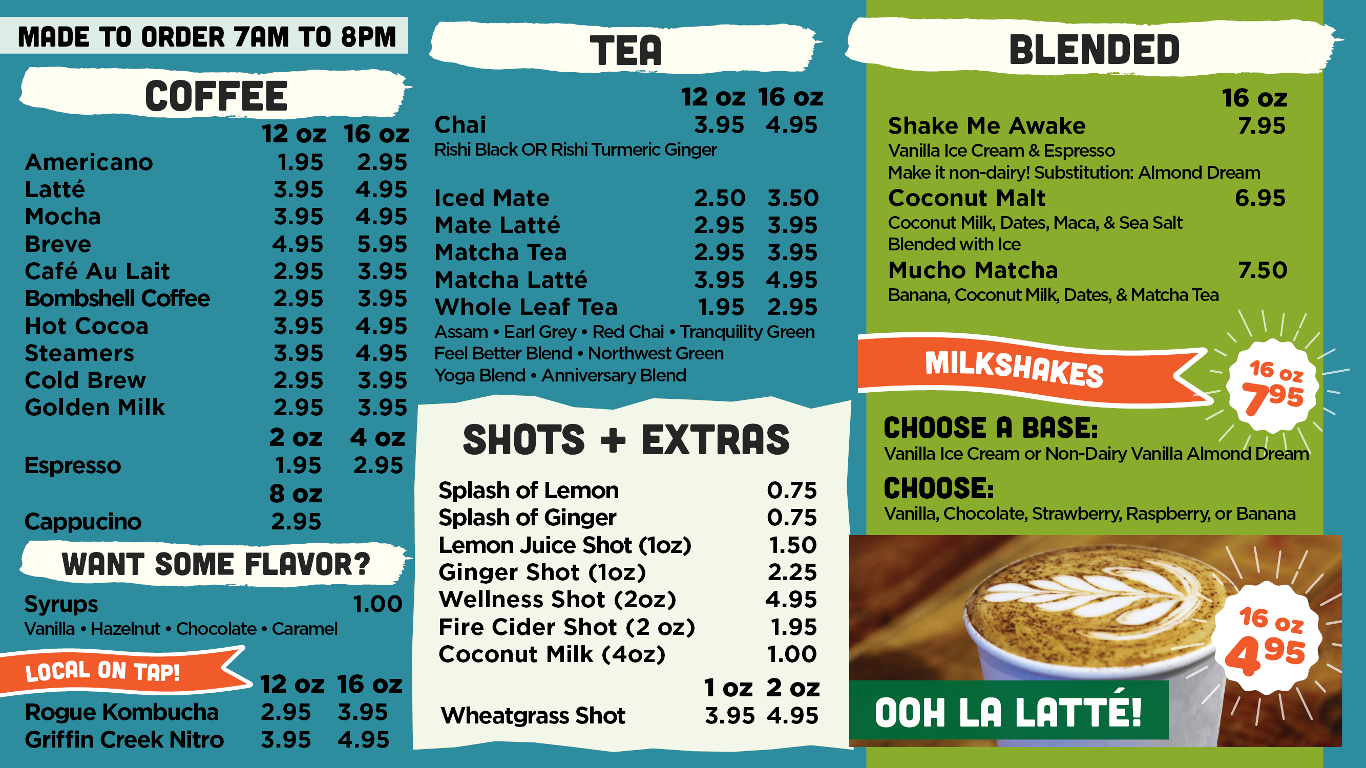 AFC Coffee Made to Order Menu