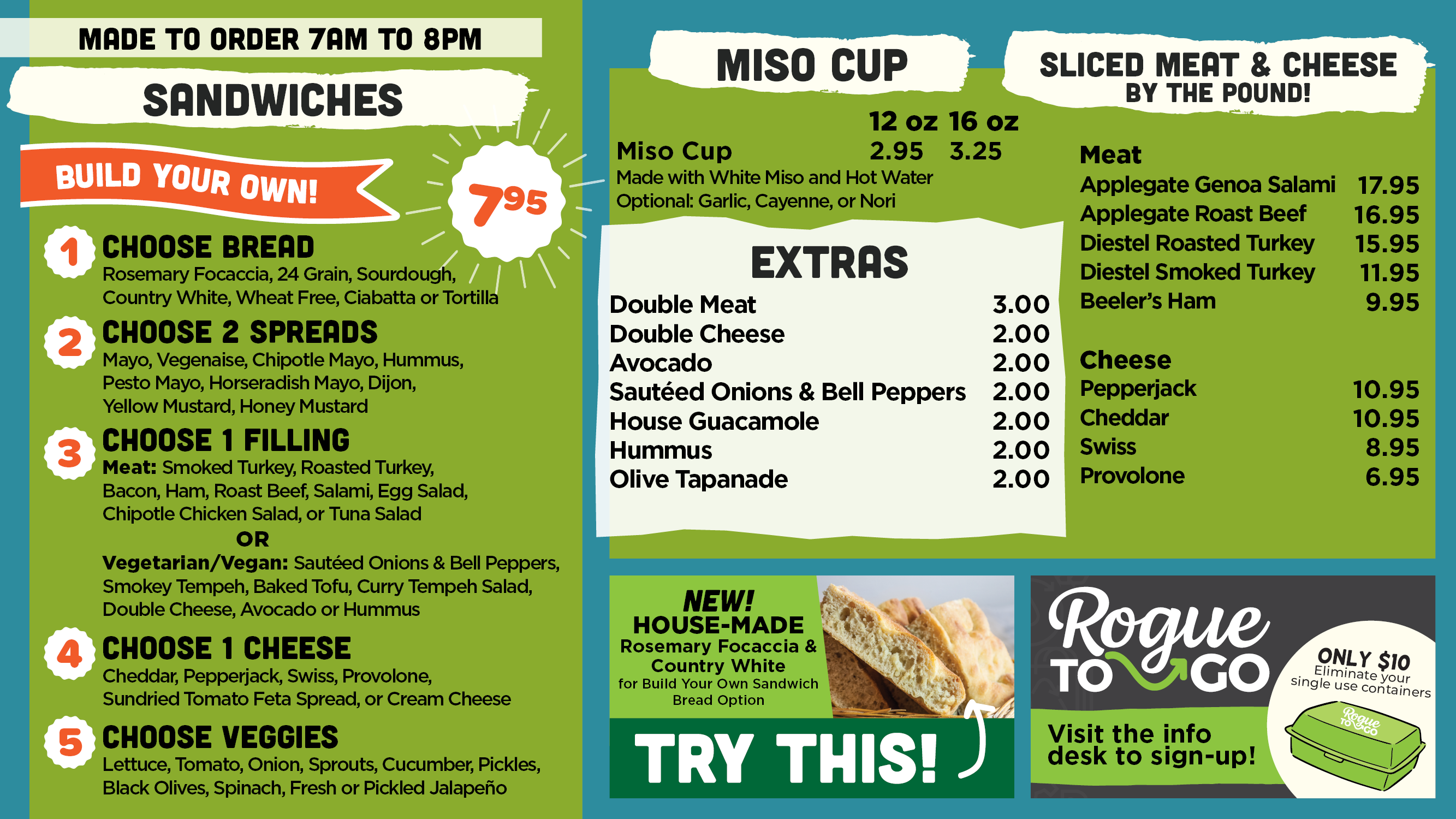 Made to Order Sandwich menu