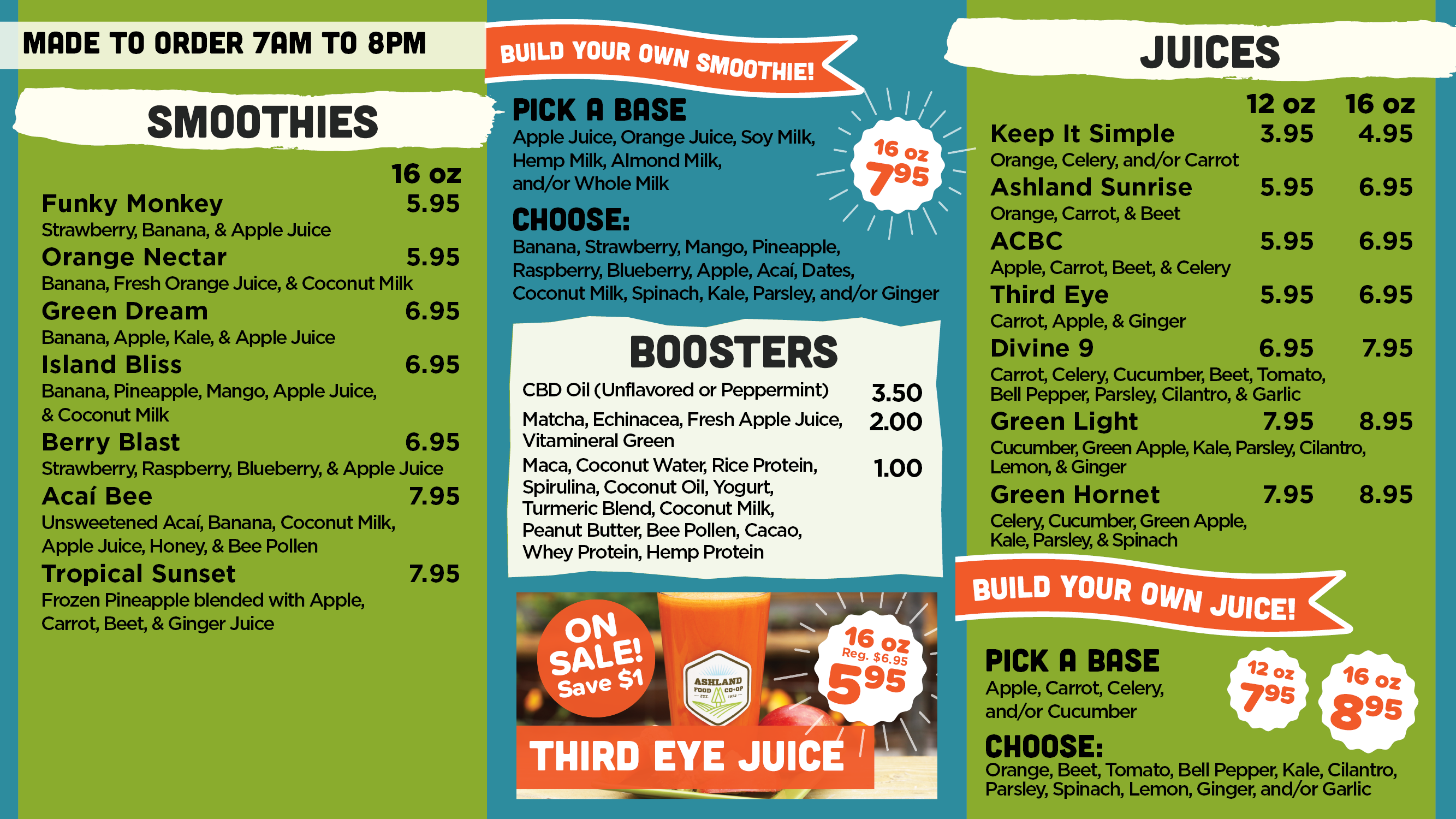 Made to Order Smoothie and Juice Menu