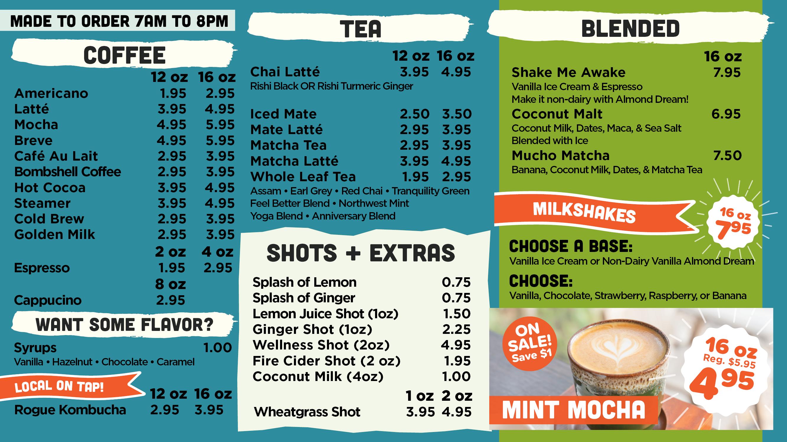 Co-op Kitchen Coffee & Tea menu