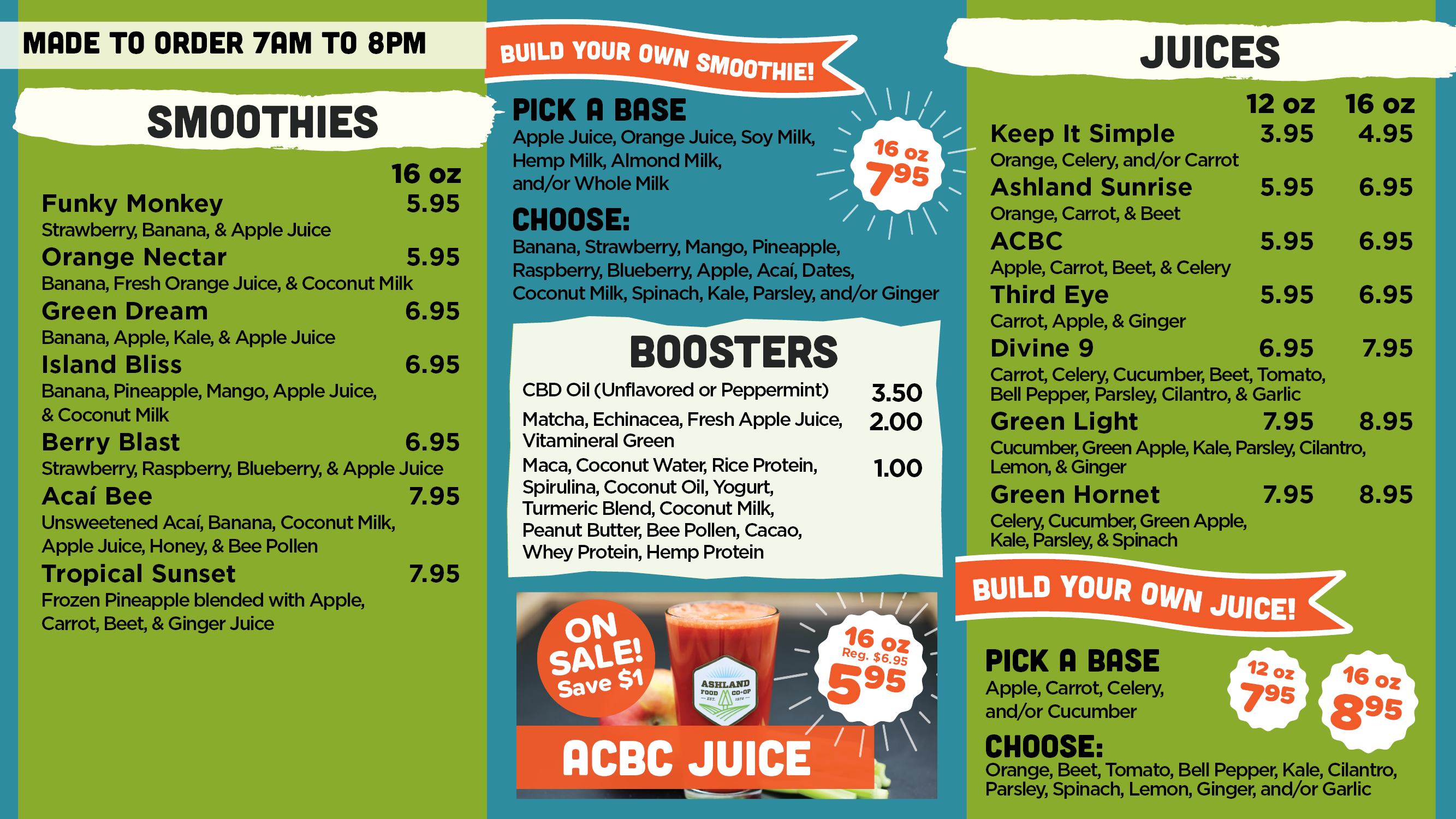 Co-op Kitchen smoothie & juice menu