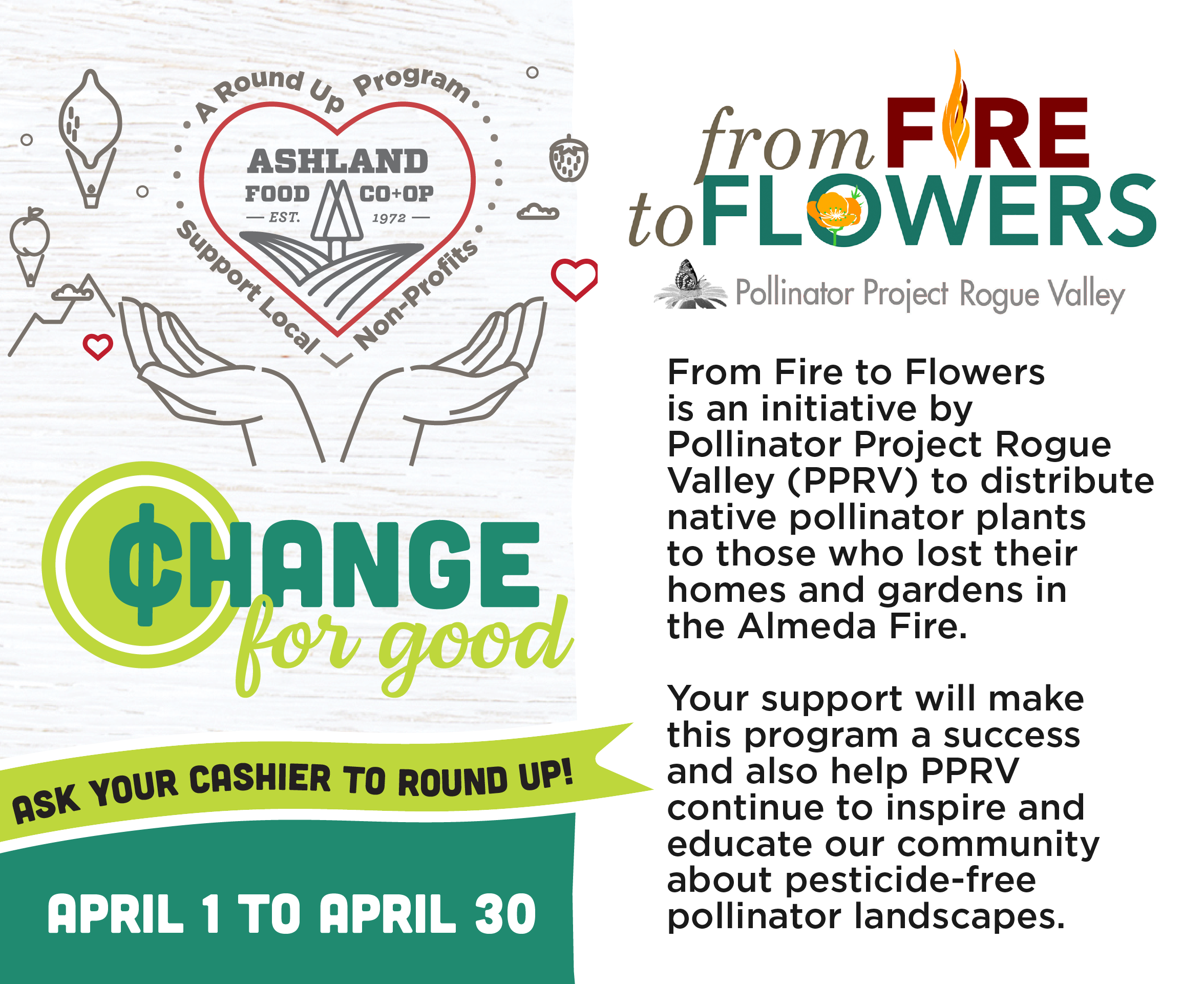 Change for Good From Fire to Flowers is an initiative by PPRV to distribute native pollinator plants to those who lost their homes and gardens in the Almeda Fire.
