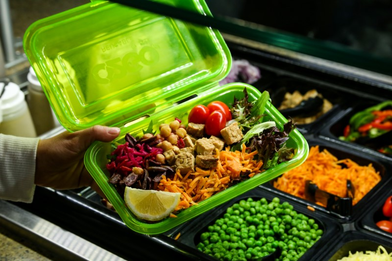 Rogue To Go container at the salad bar